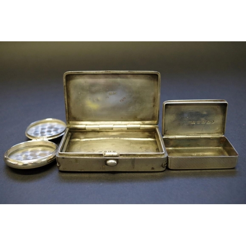 40 - <strong>A silver tobacco box,</strong> <em>by B.C, </em>Birmingham 1913, 7.5cm; together with a silv...