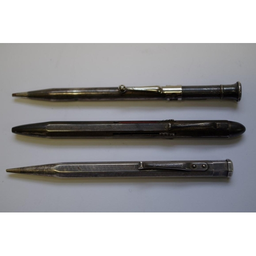 44 - <strong>A silver engine turned 'Yard O Led' propelling pencil</strong>; together with a sterling exa...