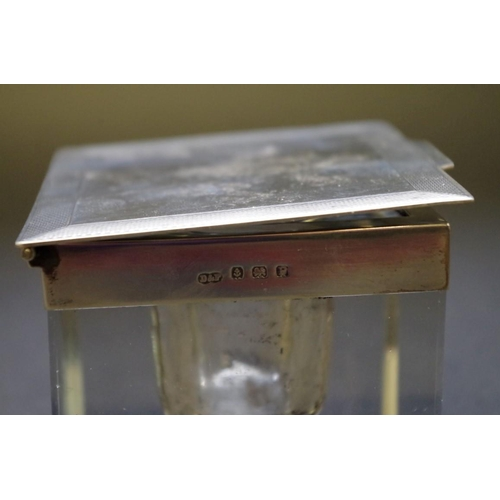 47 - <strong>A silver mounted square cut glass inkwell, </strong><em>by Deakin & Francis, </em>Birmin...