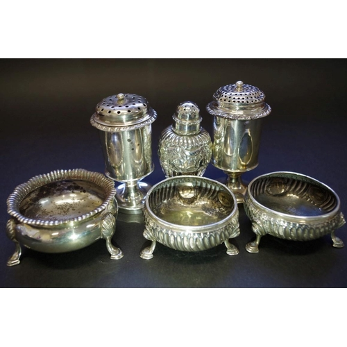 48 - <strong>A Victorian silver salt,</strong> <em>by Robert Harper,</em> London 1856; together with five...