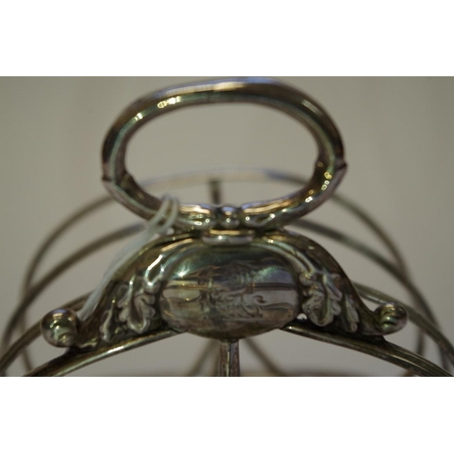 8 - <strong>A silver six section toast rack</strong>, <em>by Rebecca Eames & Edward Barnard l, </em>...