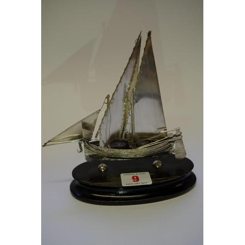 9 - <strong>A Maltese 917 silver model of a Mediterranean sailing ship,</strong> 17cm high including pli...