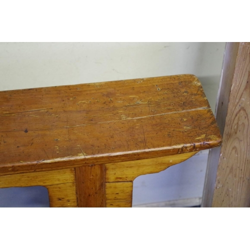 1631 - <strong>A 19th century Chinese pine long stool,</strong>114.5cm wide....
