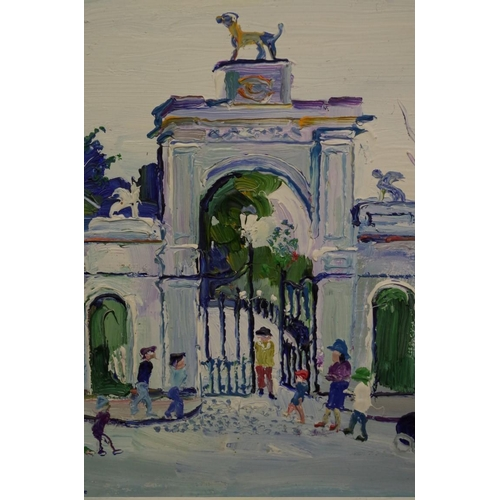 1634 - <strong>Fred Yates,</strong>'Dog Gate, Bourne Hall Park, Ewell', signed, inscribed with title verso...