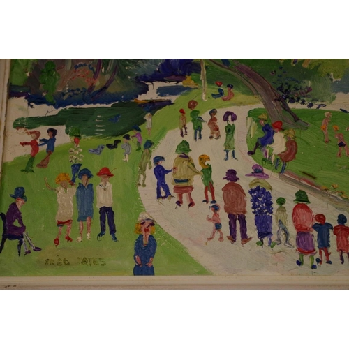 1637 - <strong>Fred Yates, </strong>'In The Park, Ewell', signed, acrylic on board, 32 x 52cm. (ARR applies...