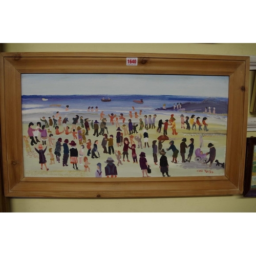 1640 - <strong>Fred Yates,</strong>'Figures on a Shoreline', signed, acrylic on board, 30 x 60cm. (ARR app...
