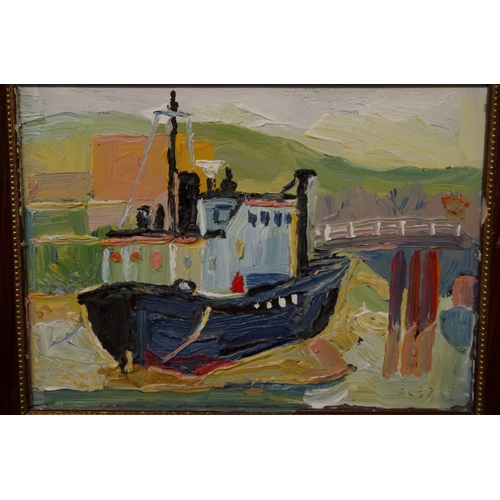 1643 - <strong>Fred Yates, </strong>'Fishing Boat by a Harbourside', incised with signature, acrylic on gla...