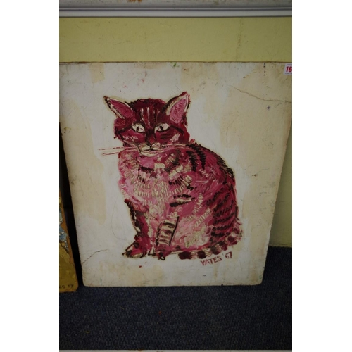 1645 - <strong>Fred Yates,</strong>'A seated cat', signed and dated 67, impasto on board, 59.5 x 46.5cm, u...