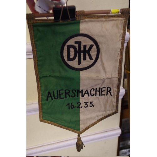 1647 - <strong>A German Youth Power Sports Association pennant,</strong>inscribed 'Auersmacher 16.2.3...