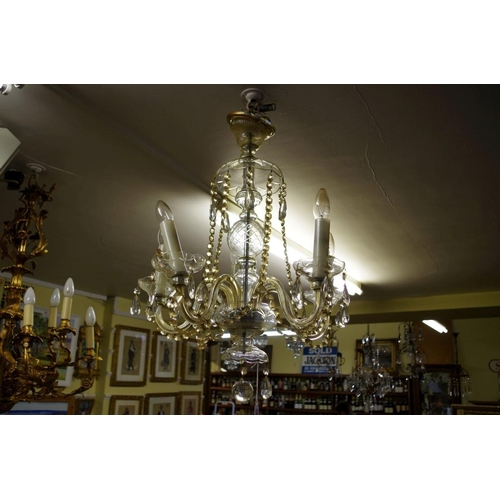 1649 - <strong>An old glass five branch chandelier,</strong>approx 68cm high....
