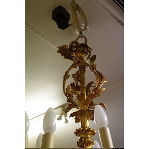 1650 - <strong>An old gilt metal ten branch ceiling light,</strong>cast with acanthus leaves, approx 90cm ...