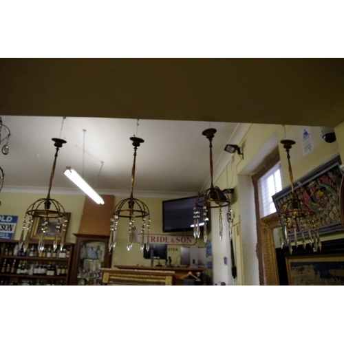 1651 - <strong>A set of four antique gilt brass and faceted glass drop ceiling lights,</strong>total heigh...