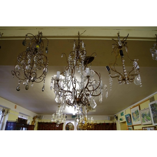 1652 - <strong>Three similar old brass and faceted glass bead ceiling lights.</strong>...