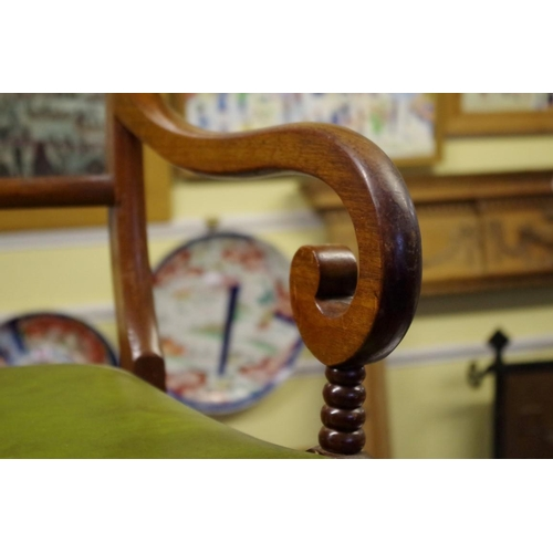 1657 - <strong>A set of six William IV mahogany bar back dining chairs;</strong>together with a simil...