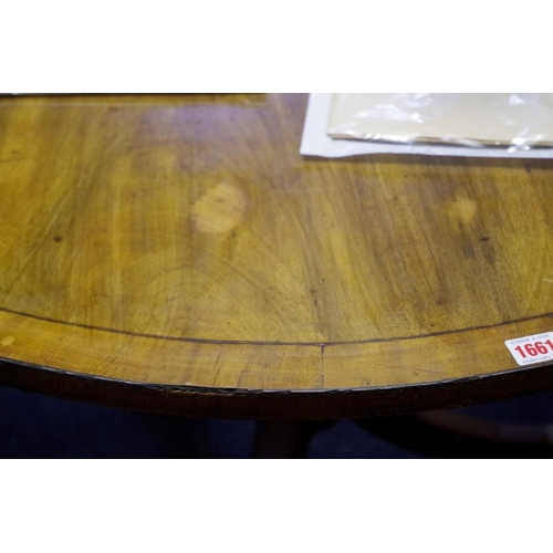 1661 - <strong>An antique mahogany and crossbanded circular tripod table,</strong>103cm diameter.&nbs...