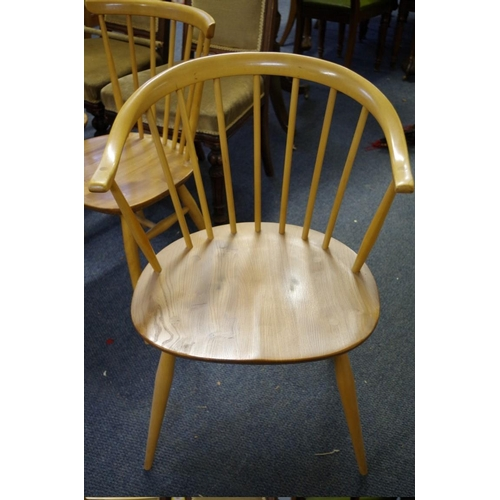 1665 - <strong>A set of sixvintage Ercol dining chairs,</strong> to include a pair of elbow chairs....