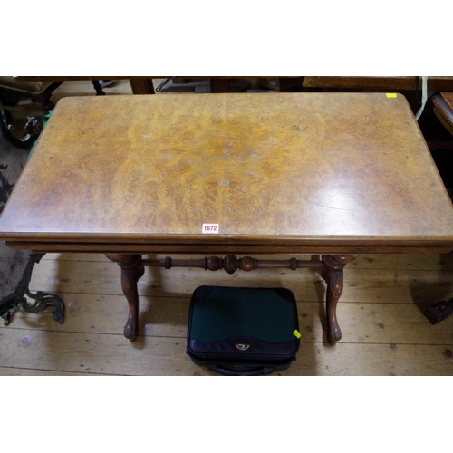 1672 - <strong>A Victorian burr walnut rectangular card table, </strong>95cm wide. ...