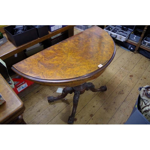 1673 - <strong>A Victorian burr walnut demi-lune pedestal card table, </strong>98cm wide....