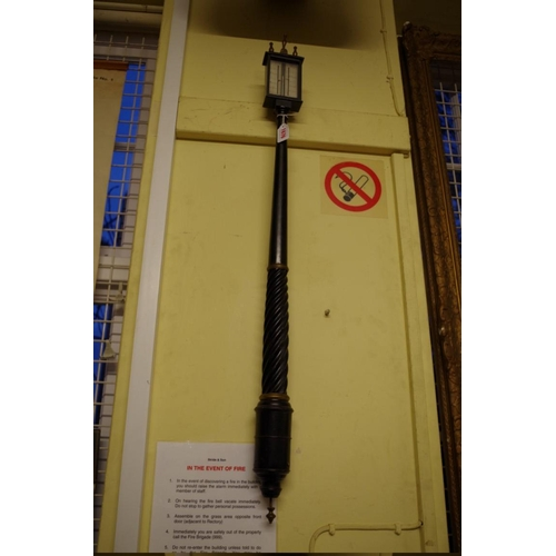 1676 - <strong>An early 19th century ebonized and spiral reeded stick barometer,</strong> possibly marine, ...