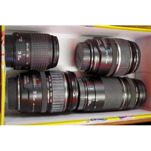 1687 - <strong>Cameras:</strong>four Canon lenses, comprising: EF 28-135mm 1:3.5-5.6 IS (gold line); ...