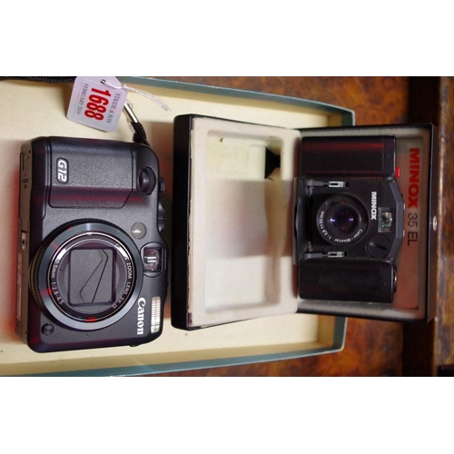 1688 - <strong>Cameras:</strong>a Canon G12; together with a Minox 35EL, boxed and with owner's manual....