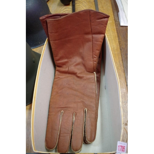 1705 - <strong>Of Sir Douglas Bader interest: </strong>a pair of brown leather gauntlets, both with Air Min...