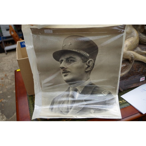 1060A - <strong>A Weil,</strong> bust length portrait of General Charles De Gaulle, signed and dated '44, pe...