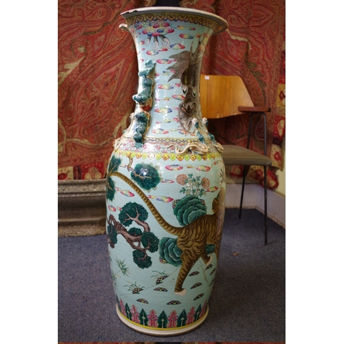 1625 - A very large 19th century Chinese famille rose twin handled vase,painted with a tiger and five...