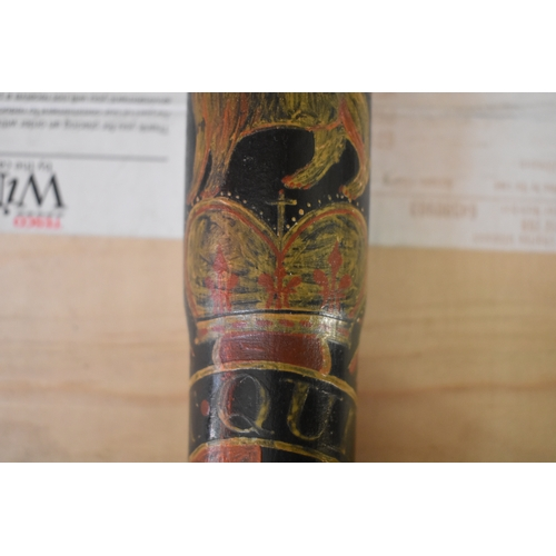 1699 - <strong>A 19th century painted and ebonized truncheon, </strong>with VR cipher and dated 1817, 41.5c...