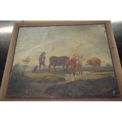 1708 - <strong>European School, </strong>late 18th/early 19th century, figure and cattle by a watering hole...