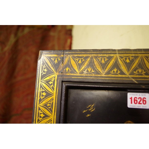 1626 - <strong>A pair of 19th century Chinese black lacquered and gilt screen panels,</strong>each 164 x 5...