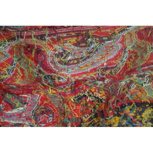 1048 - <strong>A 19th century Kashmiri hand stiched Paisley shawl,</strong> with decorative border, 160 x 1...