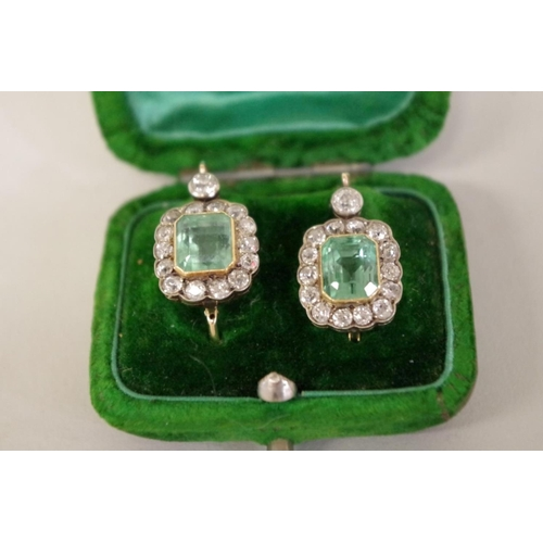 96 - <strong>A good pair of 19th century emerald and diamond earrings,</strong>circa 1820,each emerald ...