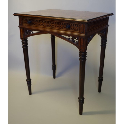 1718 - <strong>A good early 19th century oak, pollard oak, holly, ebonized and cocus wood centre table, <em...