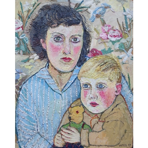 1644 - <strong>Fred Yates, </strong>'Mother and Child with Teddy Bear', signed and dated 57, labelled verso...