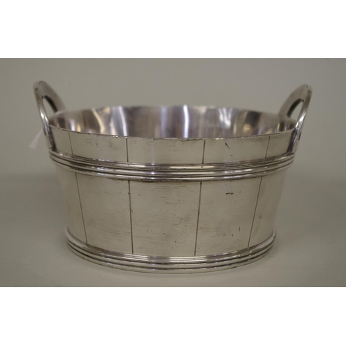 1 - <strong>An American silver plated half barrel style wine coaster,</strong> by Wilcox Silver Plate Co...