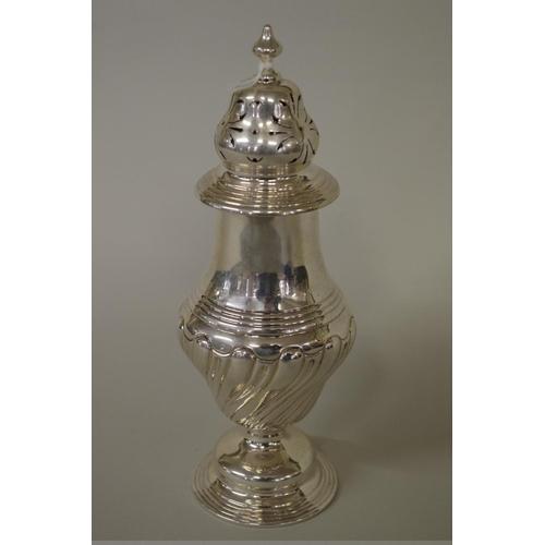 22 - <strong>A silver baluster sugar castor</strong>,<em>by Charles Boyton & Sons Ltd,</e...