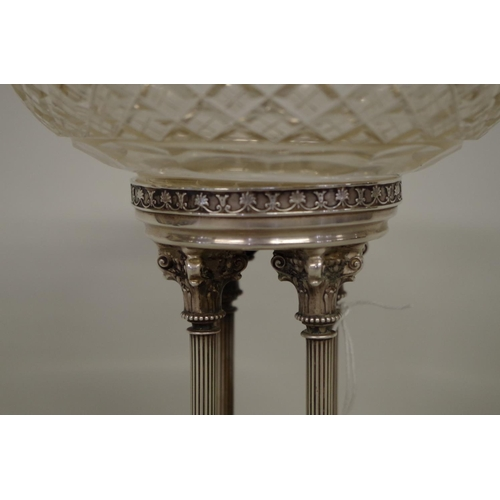 26 - <strong>A continental .900 and cut glass pedestal bowl,</strong>withIonic column base, stamped K9 ...