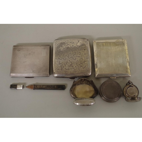43 - <strong>A small parcel of silver items,</strong> to include three cigarette cases and a sovereign ho...