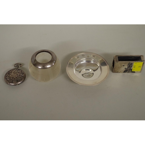 52 - <strong>Four items of silver and metal</strong>, to include a small silver mounted glass vesta....