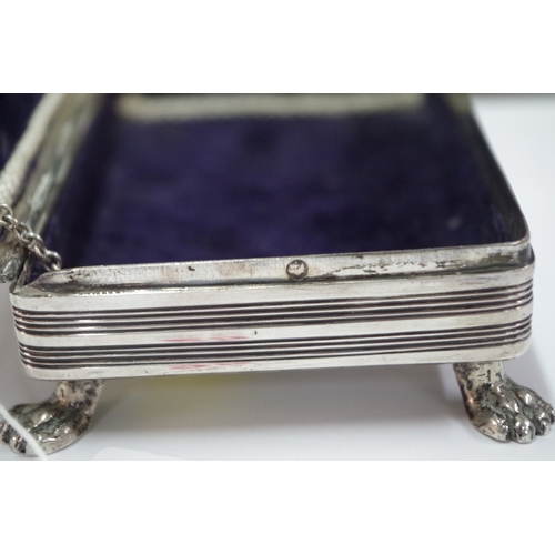 25 - <strong>A French silver velvet lined jewel casket,</strong> having engine turned decoration, 12 x 7....