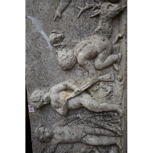 1110 - <strong>A composition stone relief moulded rectangular frieze</strong><strong>panel, </strong>42 x ...
