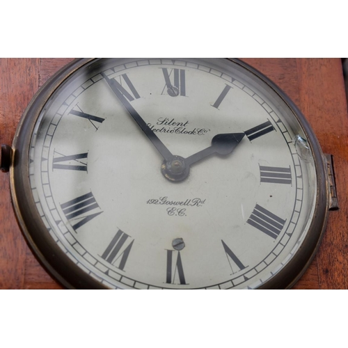 1114 - <strong>An early 20th century mahogany Silent Electric Clock Co master wall clock, </strong>with 6in...