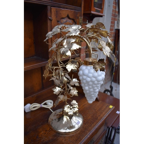 1117 - <strong>A pair of brass and opaline glass table lamps, </strong>possibly Murano,52cm high....