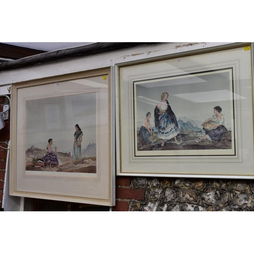 1123 - <strong>After Sir William Russell Flint,</strong>two coloured prints, one with blind stamp, la...