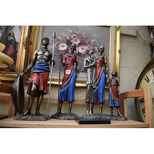 1125 - <strong>Four figures of African natives,</strong> largest 46cm high. ...