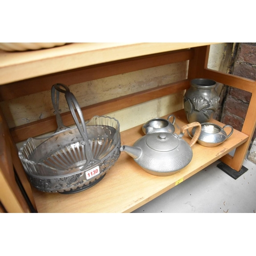 1130 - <strong>A Tudric pewter three piece tea set, </strong>No.01537;together with a WMF style pewter and...