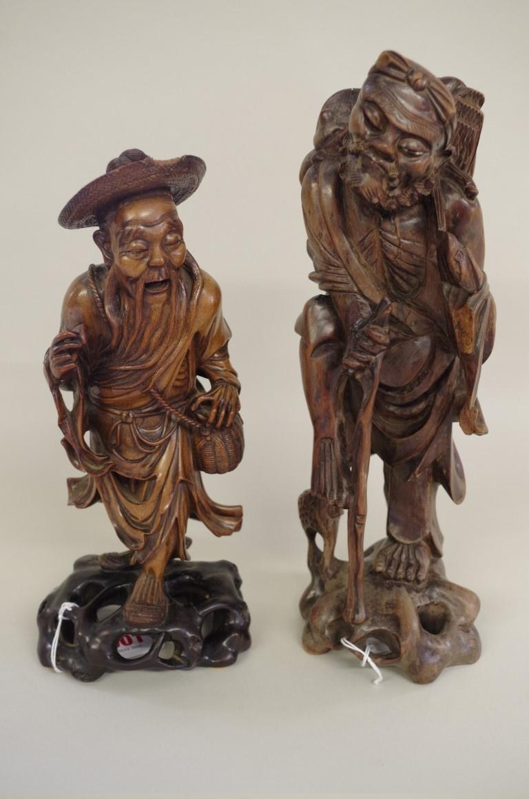 Two Japanese carved wood figures,
