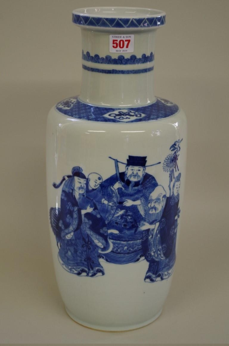 A large Chinese blue and white rouleau vase,