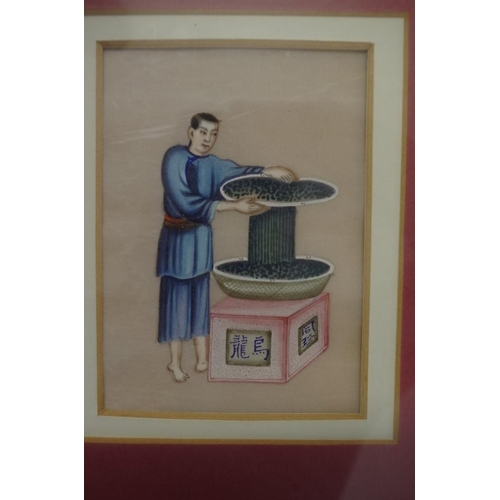 731 - <strong>Chinese School,</strong>'tea processing', a pair, watercolour on ricepaper, 14.5 x 10.5cm;...